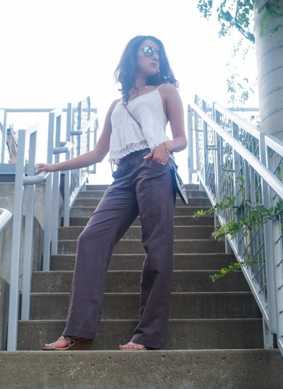 Lace Cami + Linen Jeans