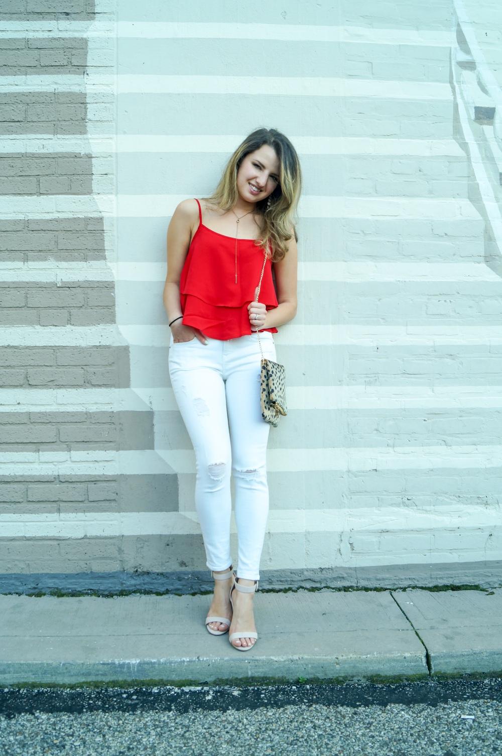 SheIn Tank, White Jeans, Cheetah Clutch